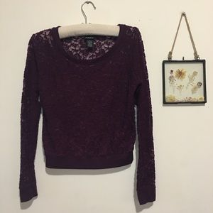 Rue 21 Sheer Lace Plum Top